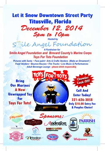 Toys For Tots Foundation Florida : Let it snow downtown street party titusville florida